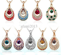 Wholesale Swarovski Drop Pendant Wholesale - Austria swarovski crystal elements of the crystal angel tear drops necklace alloy panel