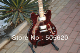 Wholesale New Arrival Jazz Guitar - Free Shipping Brown Maple Classic Jazz Guitar Abalone Binding 2013 New Arrival Wholesale