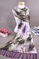 Wholesale Hand Painting Wool Fabric - Exquisite hand-painted peacock feather patterns 100% mulberry silk +Wool Double Fabrics Fringe Women's shawl scarves No.7