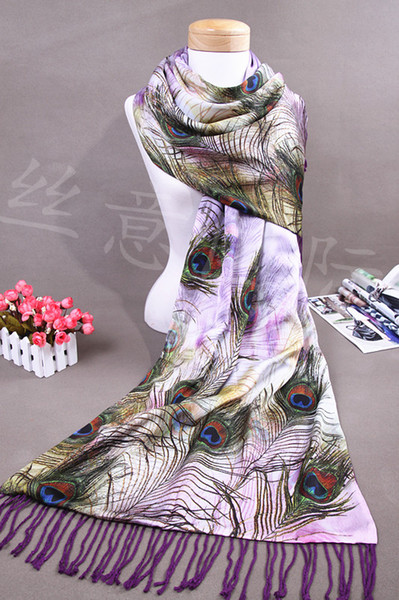 Exquisite hand-painted peacock feather patterns 100% mulberry silk +Wool Double Fabrics Fringe Women's shawl scarves No.7