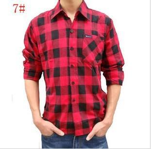 2017 Men's Shirt Cotton Flannel Plaid Shirt Shirt Casual Sanding ...