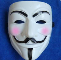 Wholesale Christmas Vendetta - Free Shipping 20pcs Hot sale V Mask FOR Vendetta Anonymous Movie Adult Guy Mask White Color Halloween Cosplay