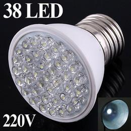 Wholesale E27 Led Lamp White - GHJB947 200pcs lot 220V E27 38 leds White light LED bulb ultra bright led Lamp energy saving led lighting Bulbs free shipping Wholesale