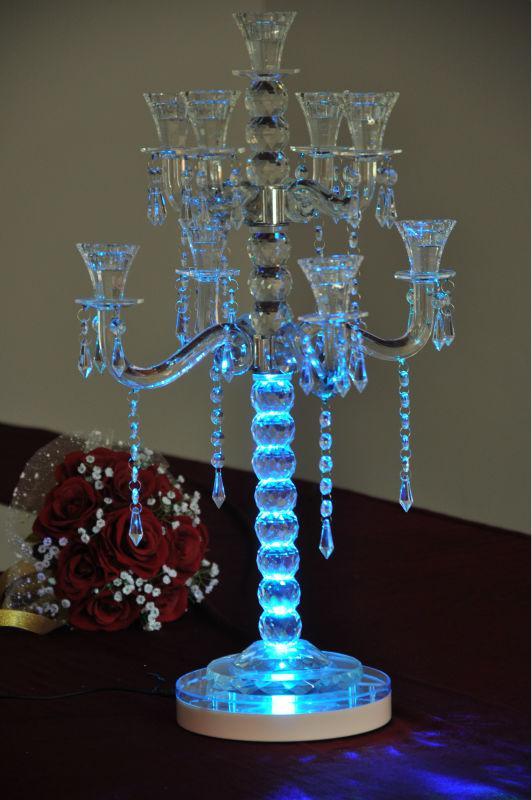 Led rgb round base light wedding centerpiece eiffel