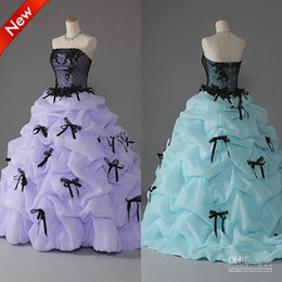Wholesale Strapless Satin Bowknot Ivory - New Arrivals!Strapless A Line Ball Gown Ruffle Bowknot Lace Zipper Prom Dress Quinceanera Dress