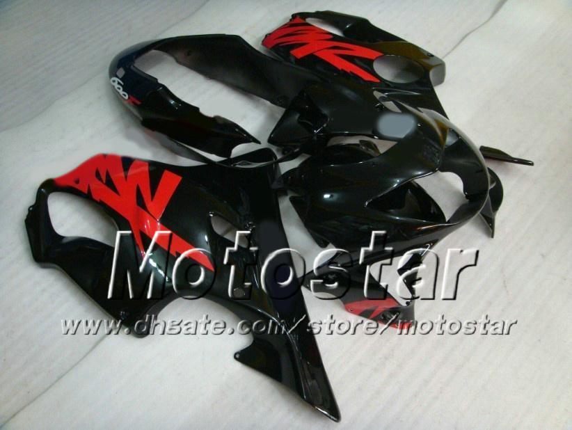 Honda CBR600 için özelleştirilmiş Siyah Kırmızı motosiklet Fairings kiti F4 1999 2000 CBR600F4 99 00 CBR 600F4 Fairing kitleri