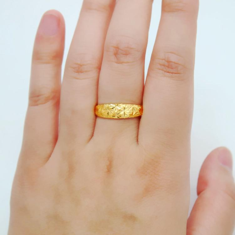fde5675c6e 24K gold-plated couple rings alluvial gold ring opening can be adjusted  Love life size