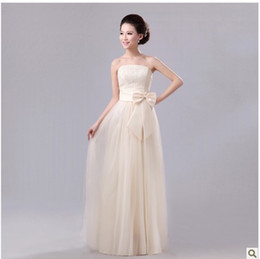 Wholesale Womens Strapless Long Dresses - Hot now free ship with track number Womens Marriage gauze Long skirt sexy dress Junior Bridesmaid Dresses evening costume 639