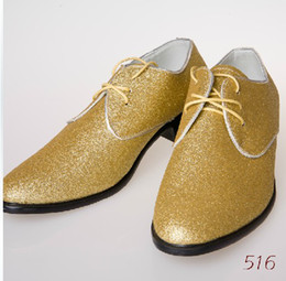 Wholesale Low Heel Gold Glitter Shoes - 2017 New luxury Men Glitter pointed sequins Spike Casual Shoes Flats Male Homecoming Dress Wedding Prom Shoes
