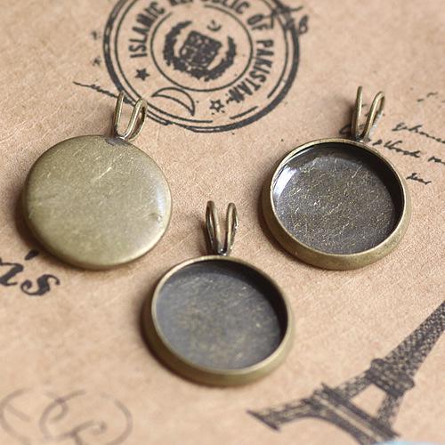 Bronze antique 12mm pendentifs de paramètres de cabochon rond rond bruts # 23126