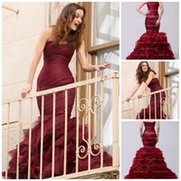 Wholesale Gossip Girl Mermaid Dress - 2015 NEW hot sale Burgundy Mermaid Trumpet Evening Gowns Strapless Organza Gossip Girl Fashion Dress Evening Dresses Prom Dresses HK194