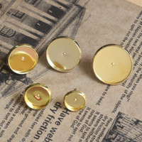 Wholesale Earring Setting 12mm Round - 30PCS Golden 12mm Round Cabochon Setting Earring Pin Studs #23145