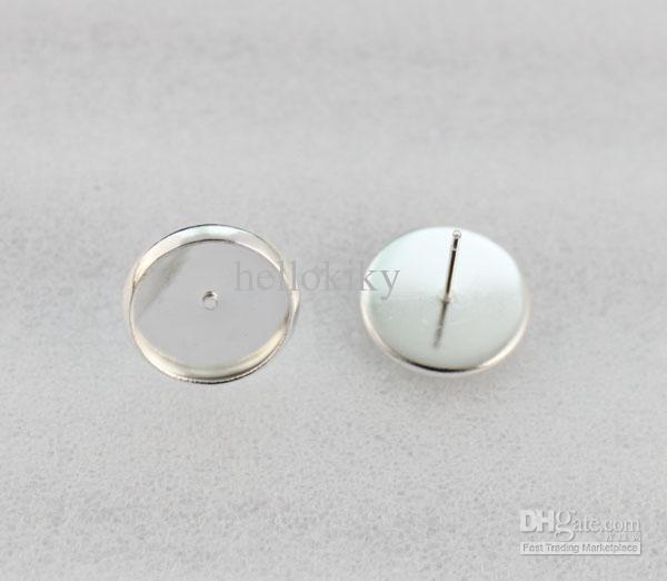 30 piezas de plata brillante de 12 mm de ajuste de Cabochon pendientes pendientes pernos prisioneros # 23149