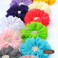 Wholesale Double Bow Clips - Double Plong Hair Clip Ballerina Flowers Chiffon Flowers With Starburst Button 15 COLOR 40PCS LOT QueenBaby