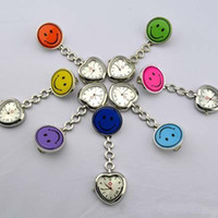 Wholesale Hot Selling Fre - New Doctor Metal Stainless Nurse watch pocket Smile Face Nurse Watch Clip Hot selling heart shape case 10color for choice DHL fre