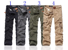 Wholesale Army Cargo Bag - Hot Men's Cargo Pants Relaxed Leisure More than straight leg bag trousers #021