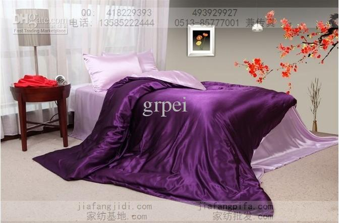 Purple Pink Silk Comforter Bedding Set King Queen Size