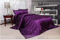 Wholesale Queen Size Pink Comforter - Purple pink silk comforter bedding set king queen size comforters sets bed sheets duvet cover quilt bedspread bed in a bag bedsheet linen