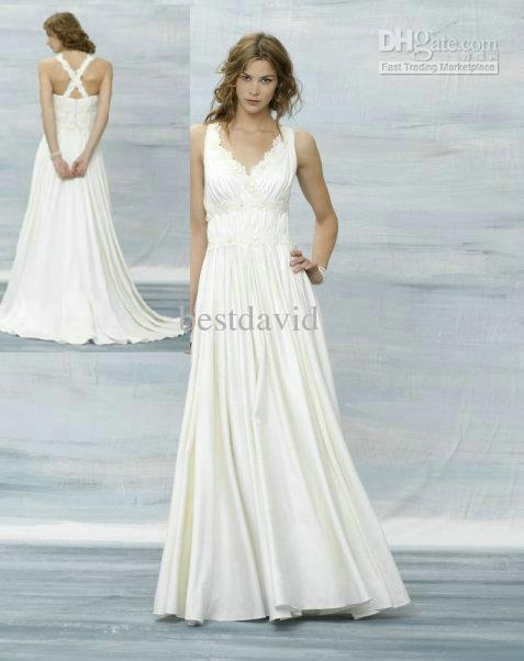 Discount New V Neck Beach Wedding Dress 2013 A Line Cris Cross Back Beaded Applique Chiffon Floor Length Oj29 Satin Strapless