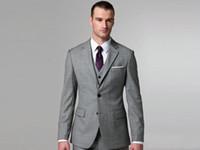 Wholesale Men Dress Vests Grey - Custom made Light grey Notch Lapel Groom Tuxedos Groomsmen Men Blazer Wedding Dress Suits Prom Clothing (Jacket+Pants+Vest+Tie) BM:646