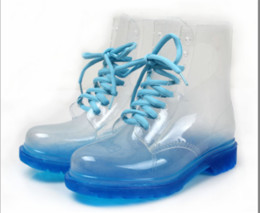 Wholesale Transparent Crystal Martin - 2015 New PVC Transparent Ladies' Colorful Crystal Clear Flats Heels Water Shoes Female Rainboot Martin Rain Boots Sexy ladies boots