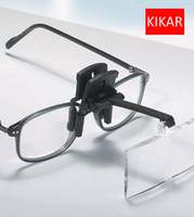 Wholesale Loupe Glasses Dental - KIKAR Clip on Flip up Glasses 4pcs Folding Magnifier Reading Magnifying Hand Free Jeweler Loop and Jewelry Loupe Hat Dental Tool Tattoo Kit
