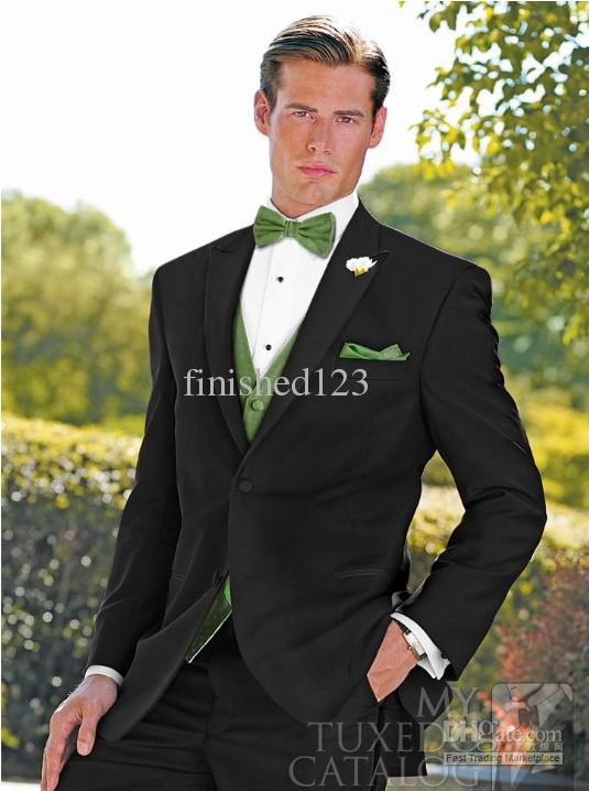 Fashion style Black Peak Lapel Groom Tuxedos Groomsmen Men Blazer Wedding Suits Prom Clothing Jacket+Pants+Vest+Tie BM:665