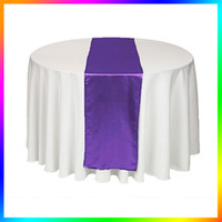 Wholesale Purple Table Runners Wholesale - Wholesale - 5 Piece Purple violet Satin Table Runner Wedding Cloth Runners Holiday Favor Party Banquet Decoration Free Shipping