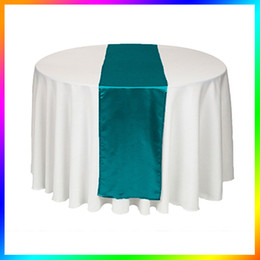 Wholesale Table Runners Satin Free Shipping - Wholesale - 5 Pieces Teal Blue Satin Table Runner Wedding table Cloth Runners for Holiday Favor Party Banquet Decoration Free Shipping