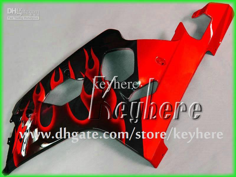 Frete grátis kit de carenagem personalizada para SUZUKI GSXR 600 04 05 GSX R600 R750 2004 2005 K4 GSXR600 GSXR750 carenagens G9m preto vermelho chamas carroçaria