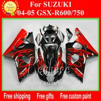 verkleidungssatz gsxr schwarz großhandel-Freier kundenspezifischer Verkleidungssatz für SUZUKI GSXR 600 04 05 GSX R600 R750 2004 2005 K4 GSXR600 GSXR750 Verkleidungen G9m schwarze rote flammt Karosserie