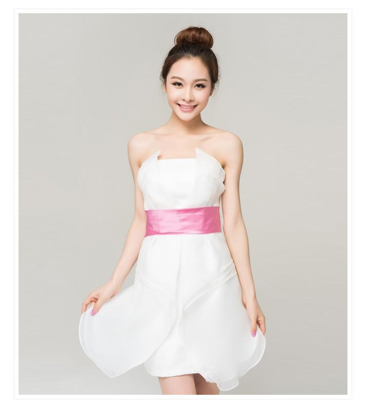 Top Quality White Color Dress With Pink Belt Hot Summer Bra ...