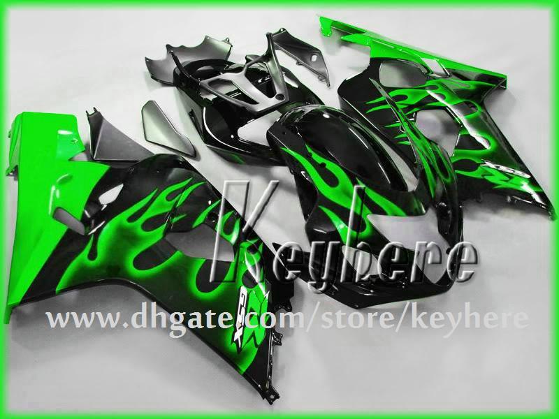 Livraison gratuite kit de carénage personnalisé pour SUZUKI GSXR 600 04 05 GSX R600 R750 2004 2005 carénage K4 GSXR600 GSXR750 ensemble de carrosserie de flammes vertes G3o