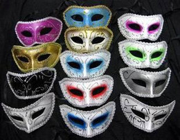 Wholesale Eye Masks Party Venice - 50pcs plastic halloween man costume mask masquerade fac facial eye masks party Venice