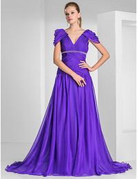 Wholesale Beauty Purple Chiffon V Neck Beads Evening Dresses Party Dresses Prom Dress Pageant Dress Cocktail Dresses Custom Size HE605701