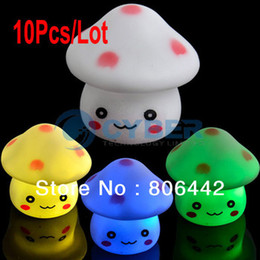 Wholesale Night Light Changes Colors - 10Pcs Lot Romantic Colors Changing LED Lighting Mushroom Lamp Night Light, Novelty Nightlight Free Shipping 8419
