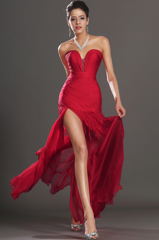 Alta Qualidade Sereia Com Decote Em V Tornozelo Comprimento Vermelho Chiffon Contas Plissadas Alta Dividir Low Back Mais Moda Vestidos de Baile Longos Vestidos de Noite