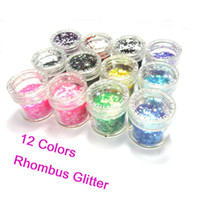 Wholesale Rhombus Nail Art - The 12 Colored Nail Art 3D Rhombus Glitter Paillette Powder Spangles Decorations For UV Nail In Acrylic Box Free Shipping