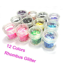 Wholesale Rhombus Glitter Nail Art - The 12 Colored Nail Art 3D Rhombus Glitter Paillette Powder Spangles Decorations For UV Nail In Acrylic Box Free Shipping