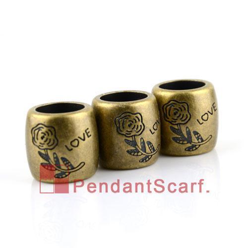 50 stks / partij, populaire diy sieraden ketting sjaal accessoires antieke bronzen plastic CCB bloem ontwerp glijbuis borgtocht, gratis verzending, AC0147