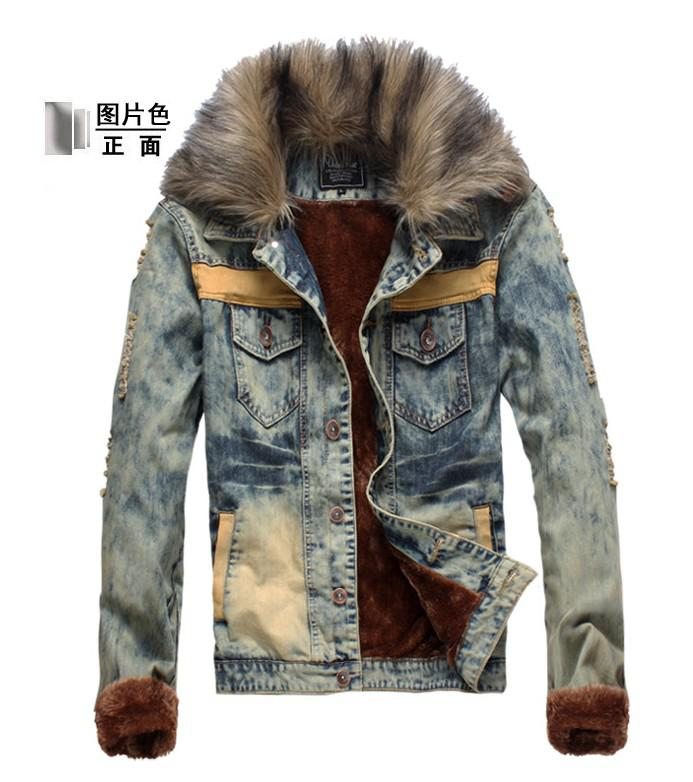 2752# Hot New Fashion Men'S Cowboy Jacket Men Slim Fur Winter With ...