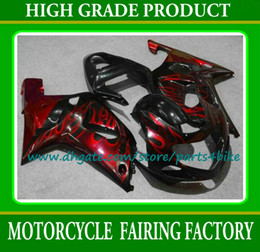 Wholesale Suzuki Gsxr Aftermarket Fairing Kit - ABS red flame in black aftermarket for SUZUKI 2000 2001 2002 GSXR 1000 body kits K2 GSXR1000 00 01 02 custom fairing kit with 7 gifts