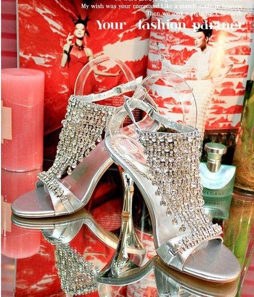 New Arrived Party chaussures de mariage dépassent coûteux argent eau poisson sandales de bouche tempérament reine chaussures à talons hauts Livraison gratuite