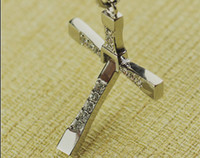 Wholesale Titanium Fast Furious Steel Necklace - Free Shipping new - FAST and FURIOUS Dominic Toretto's Cross Pendant Necklace Vin -Titanium Steel