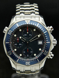 Wholesale Mechanical Chrono - Wholesale - Brand New 300M CHRONO DIVER Planet Ocean XL Stainless Steel Men's quartz Watch Men's Sport Watch