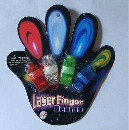 Wholesale Color Rings Plastic - 100pcs 4x Color LED laser finger beams party Light-up finger ring laser lights with blister package