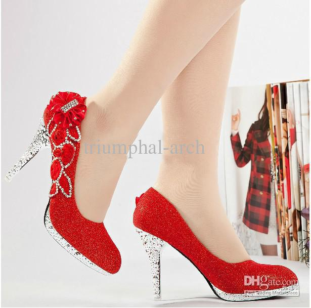 Glitter Red 10cm Bridal High Heels Shoes Wedding Bridesmaid Shoes ...