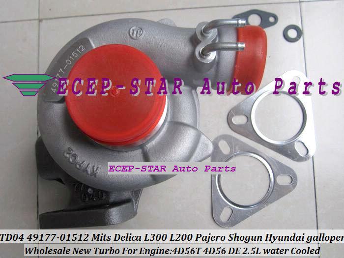 refrigerado por agua TD04 49177-01512 4917701512 MD194841 TD04-10T Turbo Turbocompresor para Mitsubishi Delica L300 L200 Pajero Shogun 4D56 2.5L 4D56T