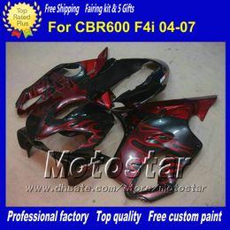 F4i giFt online shopping - 7 Gifts fairings set for HONDA CBR600F4i CBR F4i red flame abs fairing