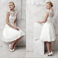 Wholesale Knee Length Lace Ruched Dresses - Elegant Short Beach Wedding Dresses 2015 Under 100 With Sheer Crew Neckline Ruched Tulle Lace Appliques Knee Length Bridal Gowns